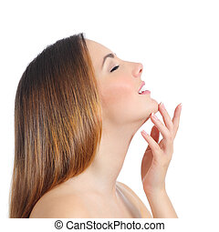 Profile of a beauty woman face skin and hand manicure...