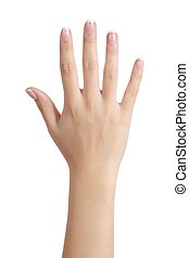 Woman open hand with french manicure isolated on a white...