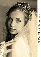 Bride - Young beautiful bride in white vail