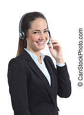 Happy operator with headset attending on the phone isolated...