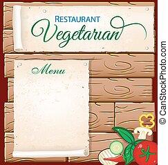 vegetarian menu on wood background