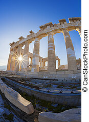 Parthenon temple against sunrise on the Athenian Acropolis,...