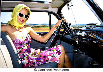 woman and classic car - Post-War model Mercedes Ponton 220SE...