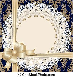 lace cloth with gold bow