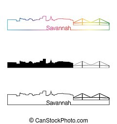 Savannah skyline linear style with rainbow in editable...