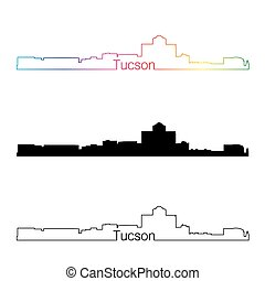 Tucson skyline linear style with rainbow in editable vector...