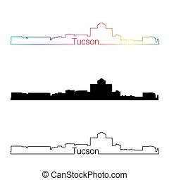 Tucson skyline linear style with rainbow in editable vector...