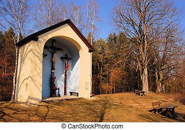 Catholic country chapel in a forest - Oversized catholic...