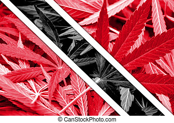 Trinidad and Tobago Flag on cannabis background. Drug...