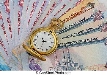 UAE Dirhams with Golden Antique Watch