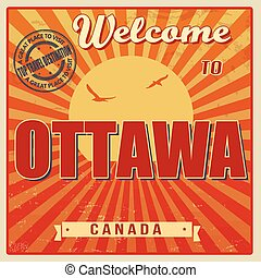 Ottawa retro poster - Vintage Touristic Welcome Card -...