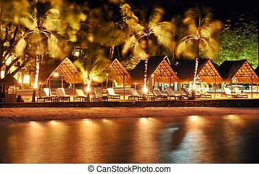 Night Beach Resort - Night Beach with huts and Sunbeds