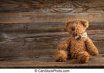 Teddy bear - Teddy bear on a wooden background