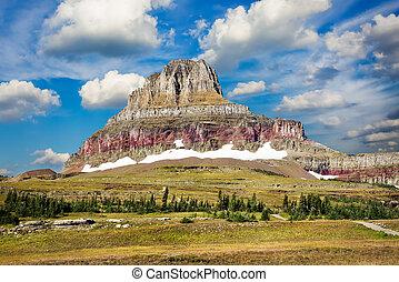 Majestic Peak on Hidden Lake Trail - Rugged, colorful peak...