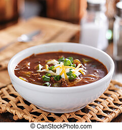 chili with sour cream and cheese