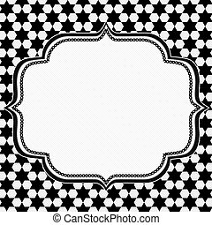 Black and White Hexagon Background with Embroidery