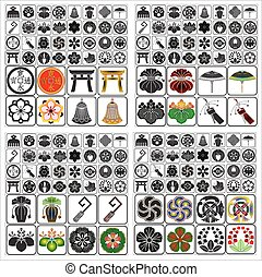 Japanese crests emblems set B - Japanese family crests...