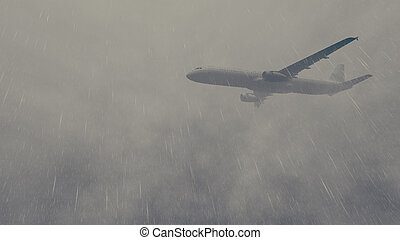 Airliner flies through a storm 2 - Passenger plane flying...
