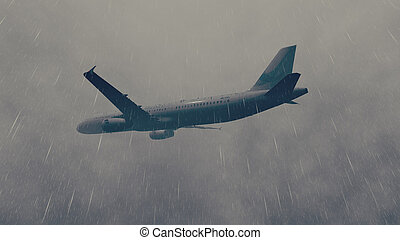 Airliner flies through a storm 3 - Passenger plane flying...