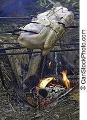 Turkeys roasting over an open fire vertical