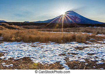 Mountain Fuji Sunrise - Mountain Fuji Diamond sunrise in...