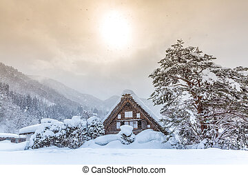 Shirakawago with Sun Snow - Shirakawago with Snowfall and...