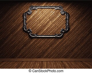 vector illuminated wooden wall and frame background