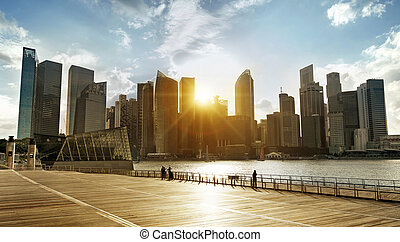 skyline at sunset - central business district of Singapore...