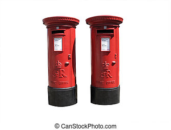 Royal Mail boxes - Old red royal mail boxes isolated on...