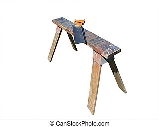 Sawhorse and panel saw - Sawhorse with panel saw, isolated...