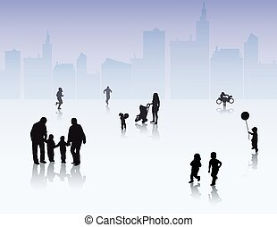 People silhouettes outdoors