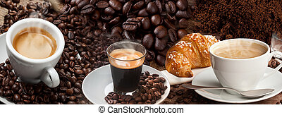 Coffee Banner Collage with espresso and coffee beans