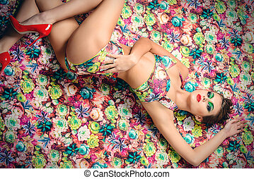 floral desire - Portrait of a sexual woman in lingerie over...