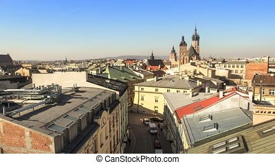 Birds-eye view of Krakow, Poland - Birds-eye view of the...