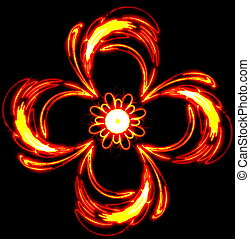 Abstract the mysterious red flower swirls in dark space