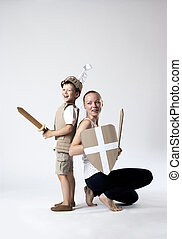 medieval knight child with mother - photo of the boy in...