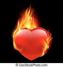 Fire heart - Red heart burning in flames on a black...