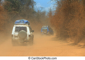 Off road Madagascar - 4x4 convoy on the dirt road from...