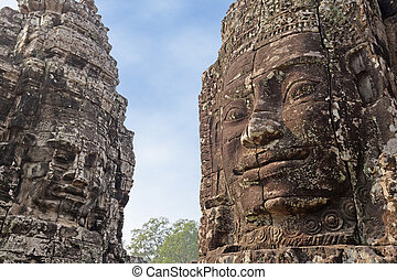 Khmer civilization - two rock carvings of the Khmer...