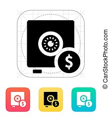 Strongbox with dollar sign icon. Vector illustration.