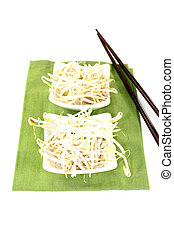 fresh mung bean sprouts with chopsticks