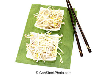mung bean sprouts with chopsticks