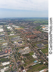 Aerial scene of the residential area at Amsterdam Schiphol...