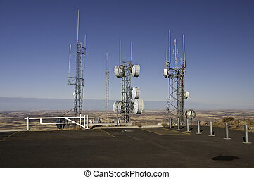 Radio and Microwave towers on top of Steppe Butte in...