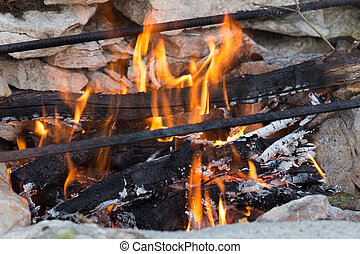 Self built barbeque with fire - Self built barbeque with a...