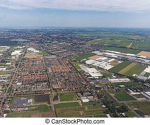 panorama, antena, mieszkaniowy,  Amsterdam, powierzchnia