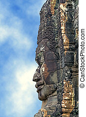 khmer sculpture - profile of khmer statue on blue sky...