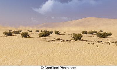 Desert landscape 1 - Realistic 3D illustration of a desert...