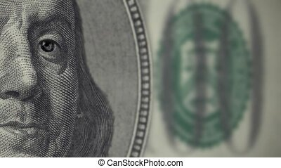 Portrait of Franklin on the banknot - banknote winks Loop...
