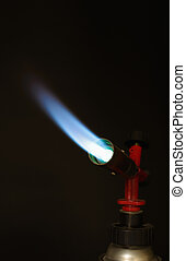 gas burner - instrument gas burner flame burns blue machine